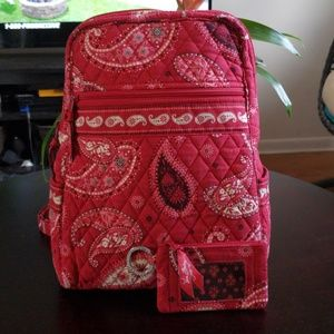 Vera Bradley Mesa red backpack + coin purse
